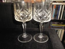 "2 X ELEGANT CUT GLASS WINE GLASSES NICE SIZE WITH PRISM STEMS 6.25"" HIGH"